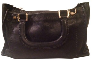Ted Baker Stab Stitch Leather Satchel in Black