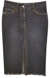 Dolce&Gabbana Dolce & Gabbana Faded Denim Jean Pencil 36 Skirt BLACK
