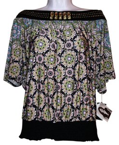 Baby Phat Off The Shoulder Top Black, Multicolor