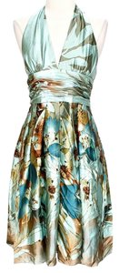 Adrianna Papell Floral Halter Prom Dress
