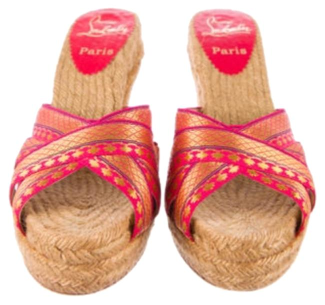 Item - Red And Gold with Crisscross Straps and Tan Woven Jute Accents. Wedges Size US 6 Regular (M, B)