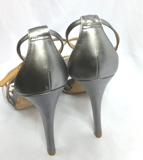 Badgley Mischka Silver Leather Heels Formal Image 1