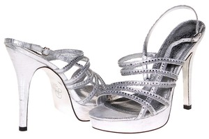Adrianna Papell Metallic Embellished Silver Formal