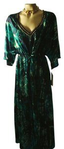 blues/greens multi Maxi Dress by Queen Collection Maxi Resort Embellished