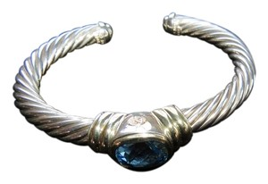 David Yurman Noblesse Collection 7mm Hampton Blue Topaz SS/14k Cuff, Med