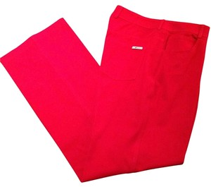 St. John Black Label Stretch Jean Straight Pants Red