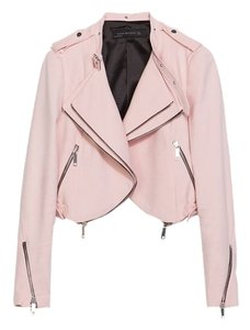 Zara Cropped Zip Pink Pale Pink Jacket