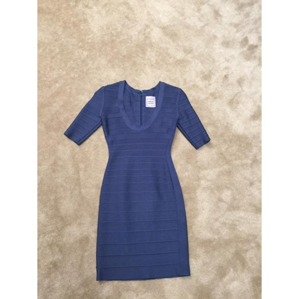 Hervé Leger Blue Bodycon Bandage Scoop Neck Knee Length Cocktail ...