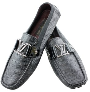 Louis Vuitton Lv Ostrich Moccasins Lv Black Formal