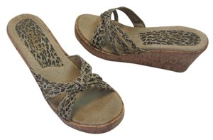 Sbicca Size 6.00 M (usa) Animal Design Very Good Condition Neutral, Brown, Black Wedges