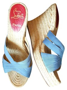 Christian Louboutin 8 Espadrille Sandals Purple Wedges