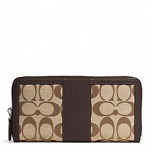 Coach F51770 Park Signature Accordion Zip Around Wallet Khaki/Mahogany