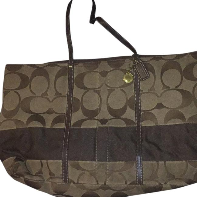 Item - Brown Canvas and Leather Beach Bag