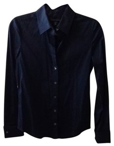 Banana Republic Classic Blouse. French Cuffs Button Down Shirt Black