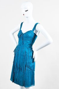 Philosophy di Alberta Ferretti short dress Blue Teal Sleeveless Pleated on Tradesy