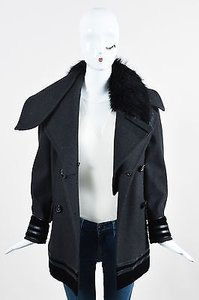 Gucci Gray Wool Fur Velvet Trim Double Breasted Coat