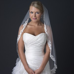 Elegance By Carbonneau Ivory Lace Edge Fingertip Wedding Veil With Rhinestones