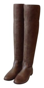Tory Burch Leather Suede Over The Knee Brown Boots
