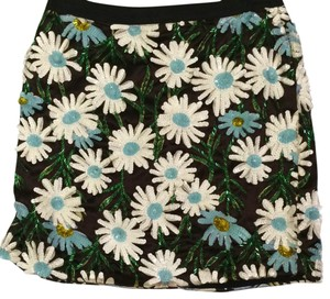 Topshop Mini Skirt Black white blue green gold