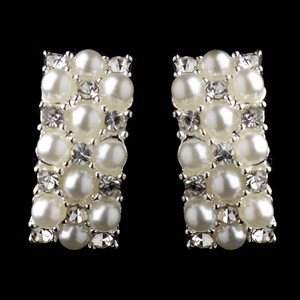 Elegance By Carbonneau Silver & White Pearl Clip On Earrings