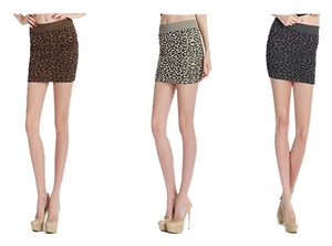 Nikibiki Leopard Collection 3 Pack Taupe Charcoal Gray Stone Beige Animal Print Mini Skirt