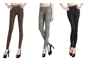 1da31154469321 Nikibiki Leopard Collection 3 Pack Stone Beige Charcoal Gray Dark Brown  Brown Animal Print Leggings