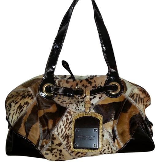 Francesco Biasia Leather Calfskin Calf Hair Mixed Patterns Leather Brown Patent Leather Hobo Bag