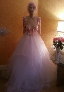Pink & White Fairy Goddess Crystal Sequin Tulle Bridal Ball Gown Wedding Dress