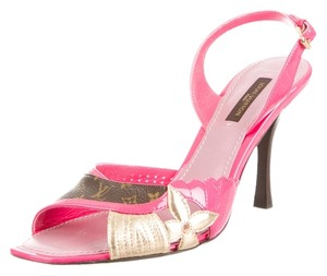 Louis Vuitton Slingback Lv Monogram Gold Hardware Floral Gold Pink, Beige, Brown Sandals