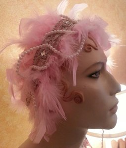 Pink Feather Goddess Pearl Rhinestone Silver Bridal Headband Headpiece Bohemian Party Wedding Party(more Colors)