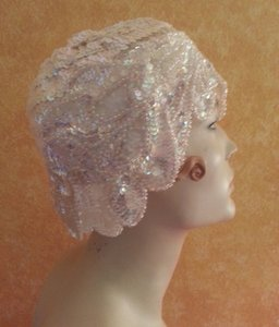 Gatsby Roaring 20's Flapper Iridescent White Sequined Headpiece Hat Bridal Wedding(more Colors)