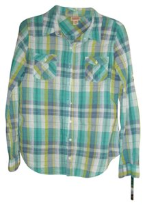 Mossimo Supply Co. Button Down Shirt Blue, Gray and Green Plaid