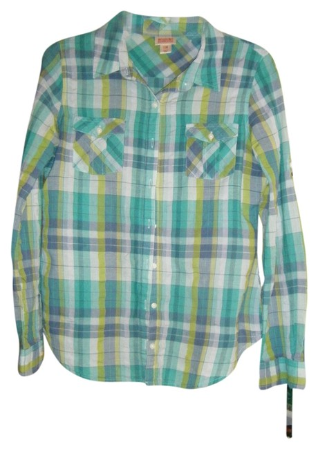 Mossimo Supply Co Button Down Shirt Blue, Gray and Green Plaid