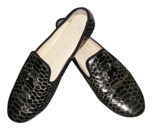 Giuseppe Zanotti Like New Slip On Embossed Laether Loafers Luxury Gz Silver Flats