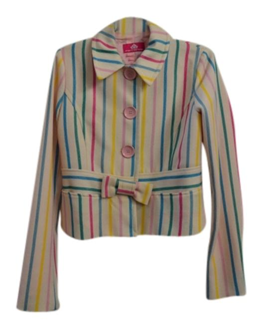 Item - Pink Green and White Striped Jacket Size 8 (M)