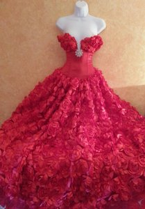 Scarlet Rose Goddess East Indian Inspired Strapless Bridal Wedding Formal Ball Gown Wedding Dress