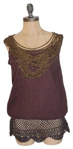 Anthropologie Wood Collar Embroidered Top BROWN