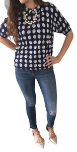 COS Peter Pan Collar Polka Dot Top Navy