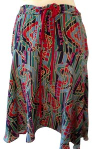 Marc Jacobs 100% Silk Skirt Green Blue And Red