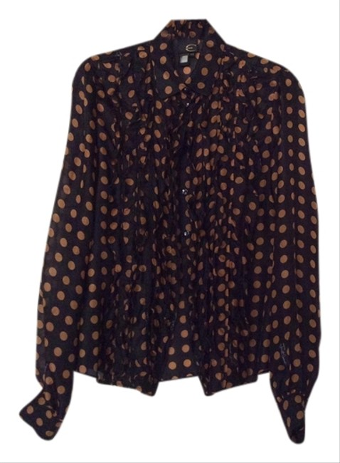 Roberto Cavalli Button Down Shirt Black with bronze dots