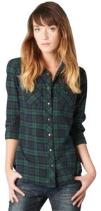 Maison Scotch Plaid Leather Elbow Patch Button Down Shirt Green & Navy