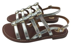 Tory Burch Gladiator Studded Silver Sandals