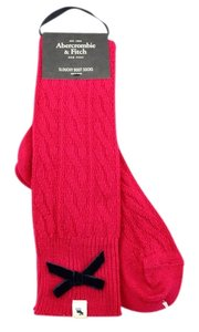 Abercrombie & Fitch Wool Blend Chunky Cable Slouchy Boot Socks Blend with Velvet Bow