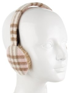 Burberry Tan, black, pink, multicolor Burberry wool Nova check ear muffs New