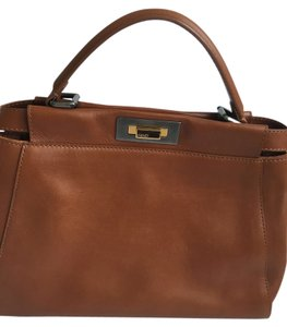 Fendi Micro Peekaboo Leather Peekaboo Handbag Leather Satchel in Dark Red or Caramel