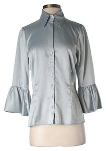 BCBGMAXAZRIA Metallic Ruched Top Silver