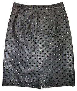 MILLY Leather Pencil Skirt Black
