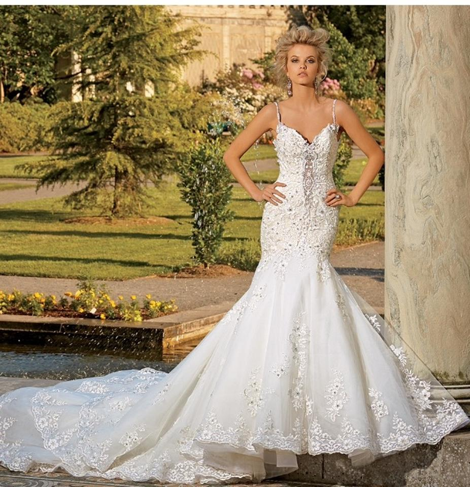 a616040840c Eve of Milady Ivory Embellished Lace and Tulle 1539 Formal Wedding Dress  Size 4 (S ...