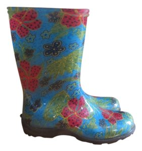 Sloggers Sloggers light blue with red flowers Boots