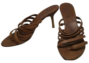 Kenneth Cole Leather Strappy Wood Brown Sandals